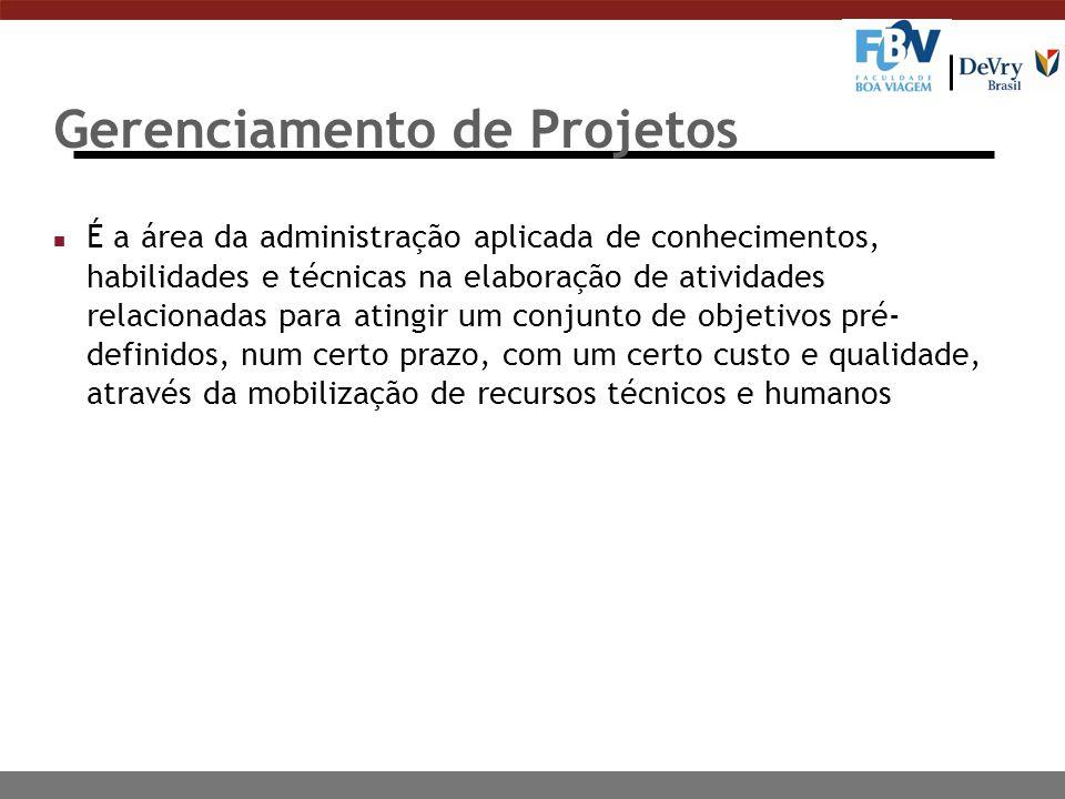 Gerenciamento de Projetos n É a área da administração aplicada de conhecimentos, habilidades e técnicas na elaboração de atividades relacionadas para