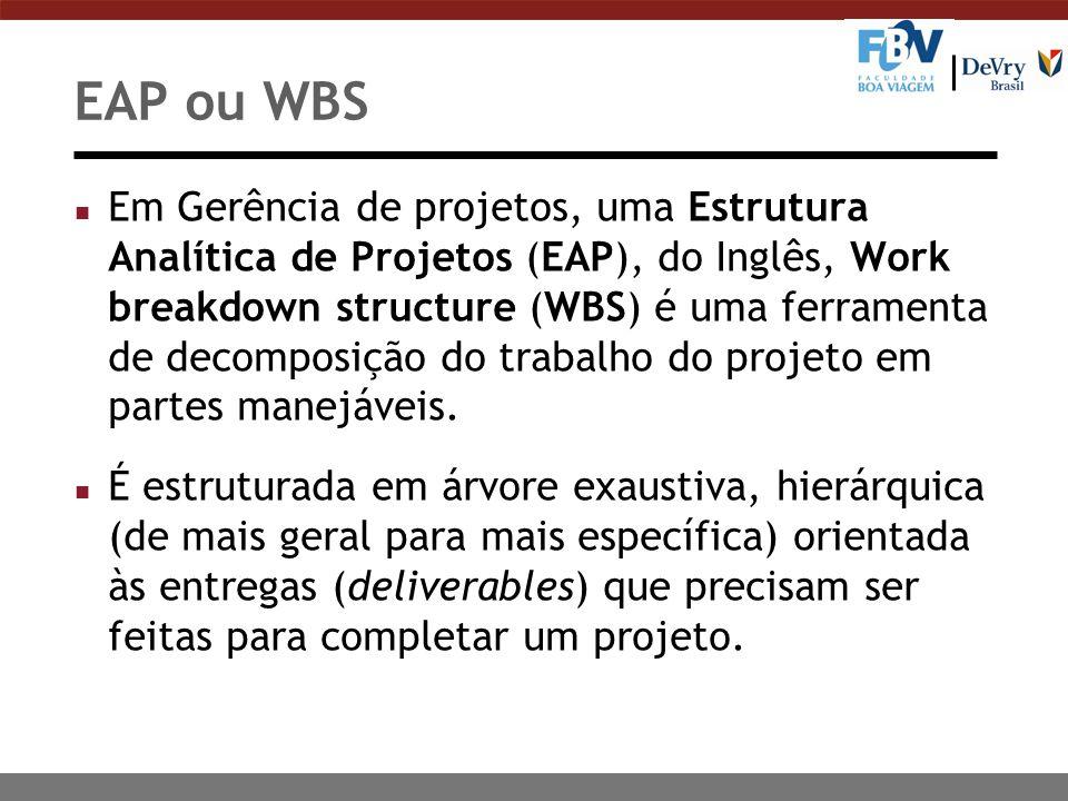 EAP ou WBS n Em Gerência de projetos, uma Estrutura Analítica de Projetos (EAP), do Inglês, Work breakdown structure (WBS) é uma ferramenta de decomposição do trabalho do projeto em partes manejáveis.