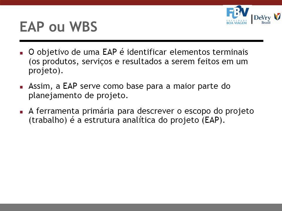 EAP ou WBS n O objetivo de uma EAP é identificar elementos terminais (os produtos, serviços e resultados a serem feitos em um projeto). n Assim, a EAP