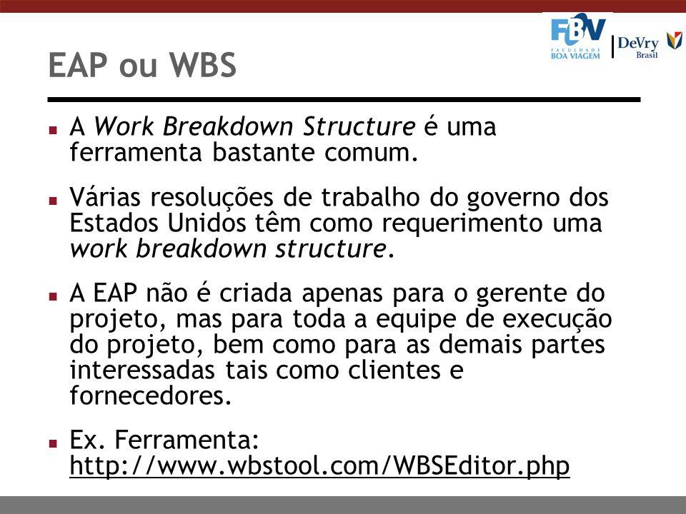 EAP ou WBS n A Work Breakdown Structure é uma ferramenta bastante comum. n Várias resoluções de trabalho do governo dos Estados Unidos têm como requer