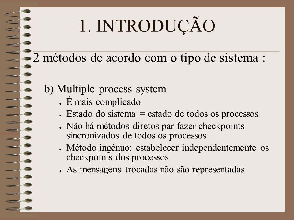 1. INTRODUÇÃO 2 métodos de acordo com o tipo de sistema : b) Multiple process system ● É mais complicado ● Estado do sistema = estado de todos os proc