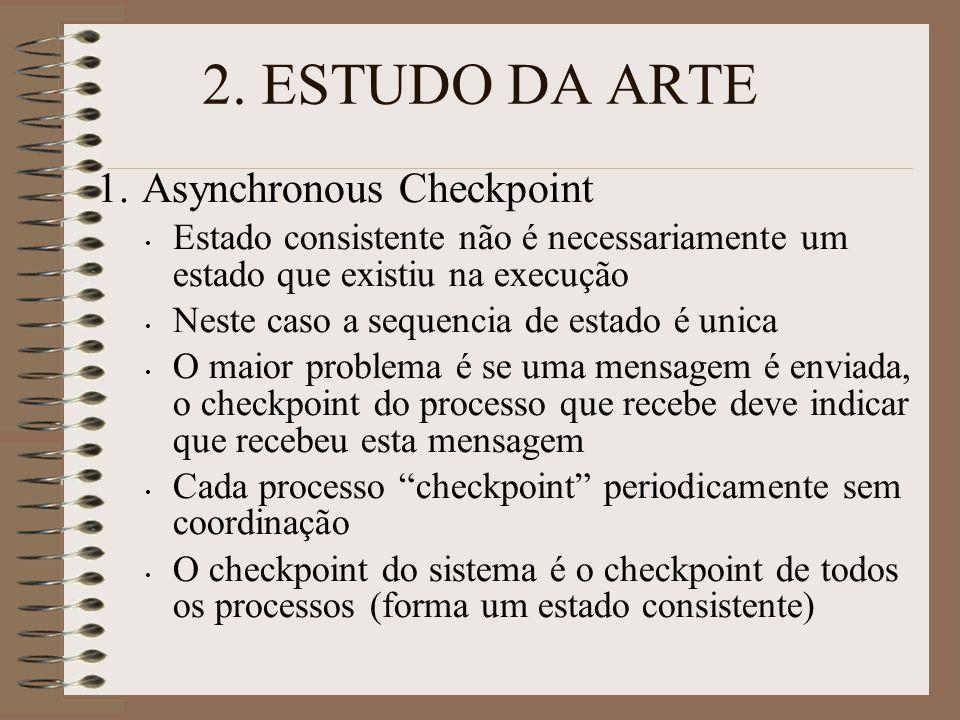 2. ESTUDO DA ARTE 1. Asynchronous Checkpoint Estado consistente não é necessariamente um estado que existiu na execução Neste caso a sequencia de esta