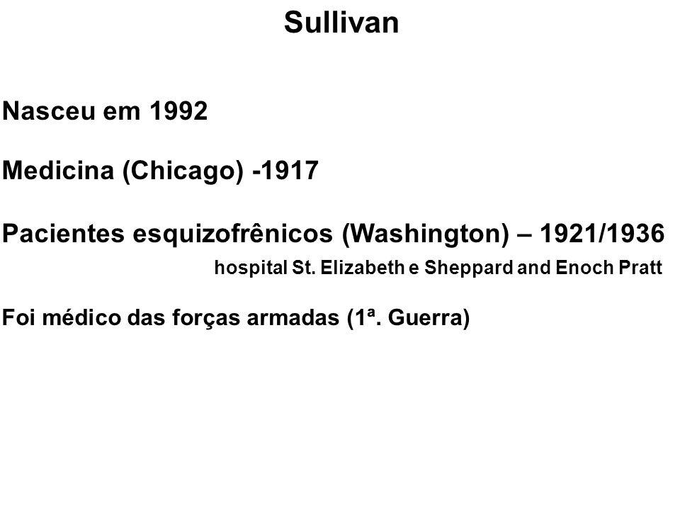 Sullivan Nasceu em 1992 Medicina (Chicago) -1917 Pacientes esquizofrênicos (Washington) – 1921/1936 hospital St. Elizabeth e Sheppard and Enoch Pratt