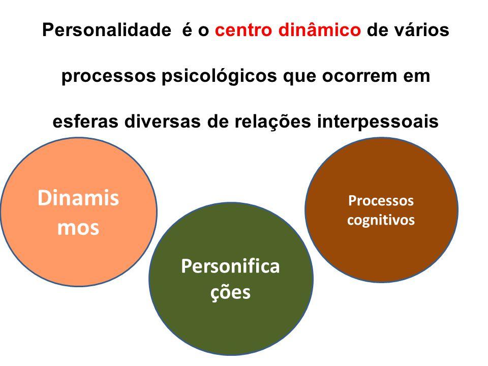 Personalidade é o centro dinâmico de vários processos psicológicos que ocorrem em esferas diversas de relações interpessoais Dinamis mos Personifica ç