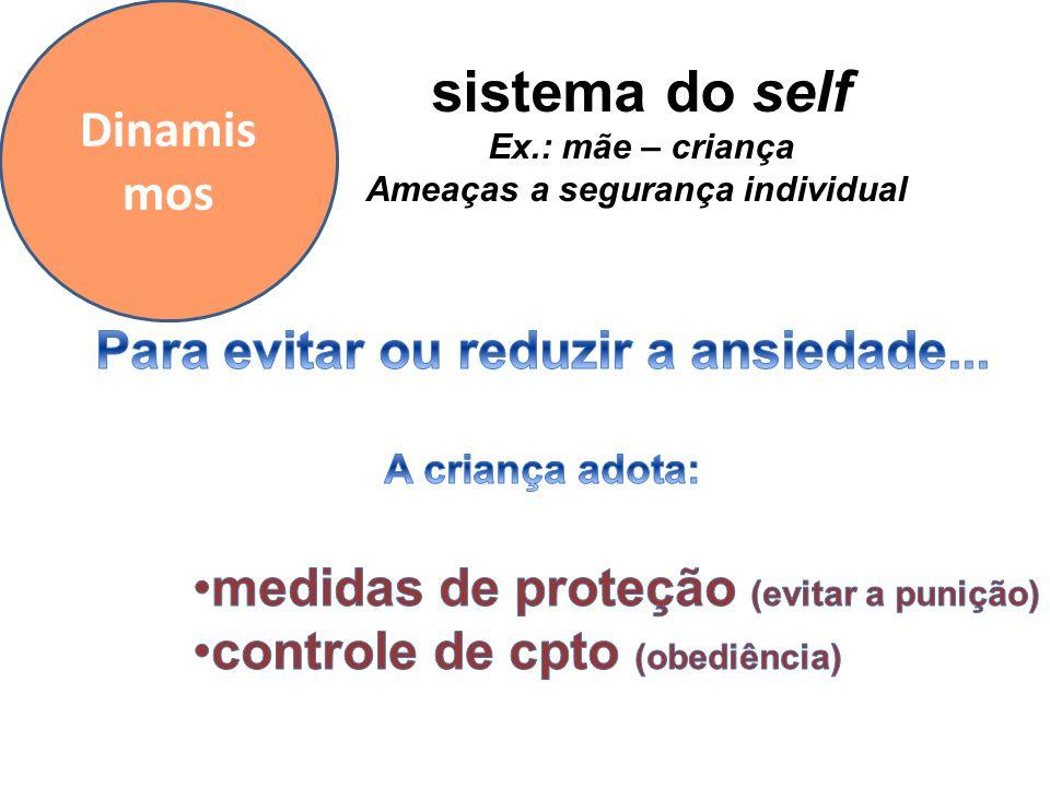 Dinamis mos sistema do self Ex.: mãe – criança Ameaças a segurança individual