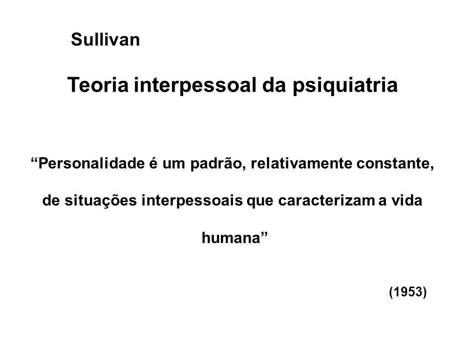 """Teoria interpessoal da psiquiatria """"Personalidade é um padrão, relativamente constante, de situações interpessoais que caracterizam a vida humana"""" (19"""