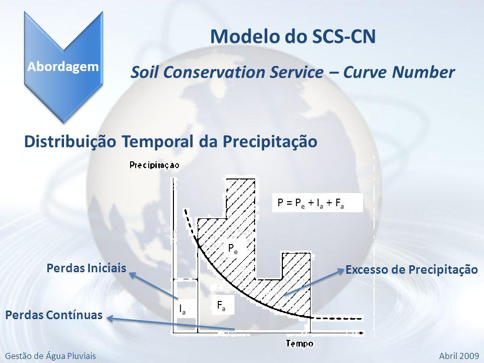 Gestão de Água PluviaisAbril 2009 Abordagem Modelo do SCS-CN Soil Conservation Service – Curve Number Distribuição Temporal da Precipitação P = P e + I a + F a FaFa PePe IaIa Excesso de Precipitação Perdas Iniciais Perdas Contínuas
