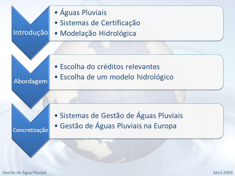 Gestão de Água PluviaisAbril 2009 Introdução Águas Pluviais Sistemas de Certificação Modelação Hidrológica Abordagem Escolha do créditos relevantes Escolha de um modelo hidrológico Concretização Sistemas de Gestão de Águas Pluviais Gestão de Águas Pluviais na Europa