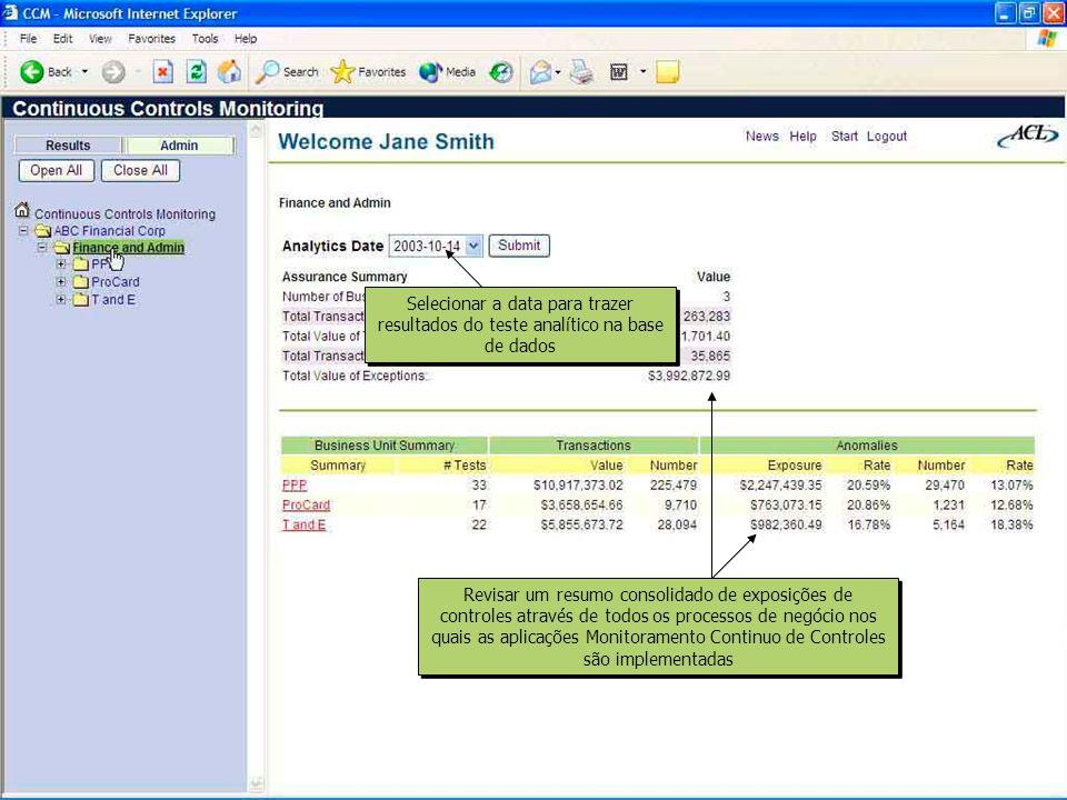 Identificar o número, valor e porcentagem do total das transações que representam anomalias em cada área de teste Clicar em todos os links HTML para aprofundar a análise e chegar aos resultados de testes detalhados Os códigos em cores o alertam para identificar a exposição do controles com base nos limites de exposição determinados Clicar em todos os links HTML para aprofundar a análise e chegar aos resultados de testes detalhados Os códigos em cores o alertam para identificar a exposição do controles com base nos limites de exposição determinados Navegar entre os tipos de teste, expandindo a visão até os testes específicos