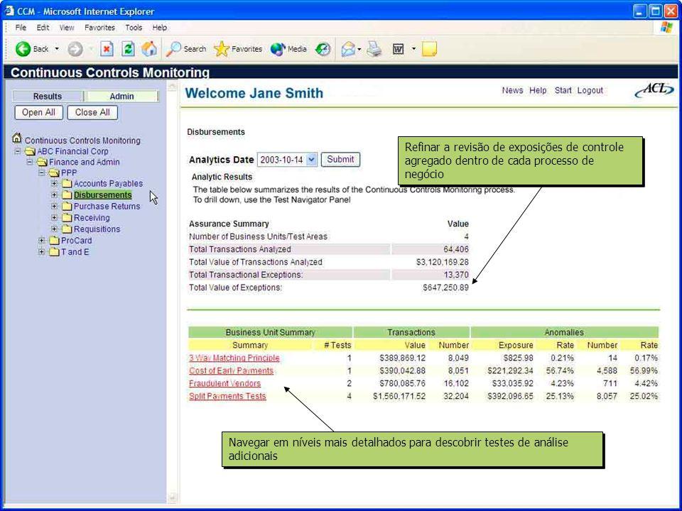 Os filtros permitem examinar somente anomalias selecionadas Verificar anomalias de transações individuais e clicar em qualquer campo para ordená-los de forma crescente ou decrescente