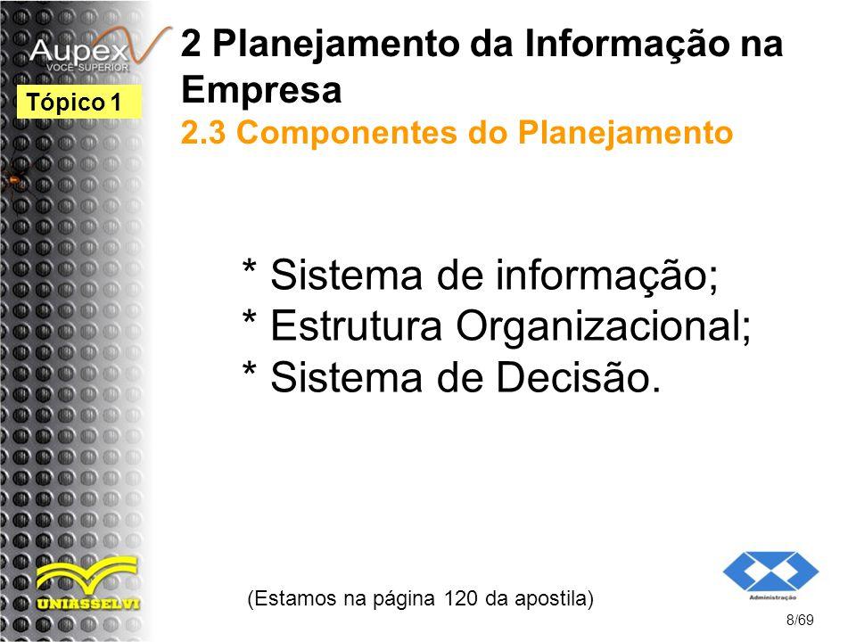 2 Planejamento da Informação na Empresa 2.3 Componentes do Planejamento * Sistema de informação; * Estrutura Organizacional; * Sistema de Decisão.