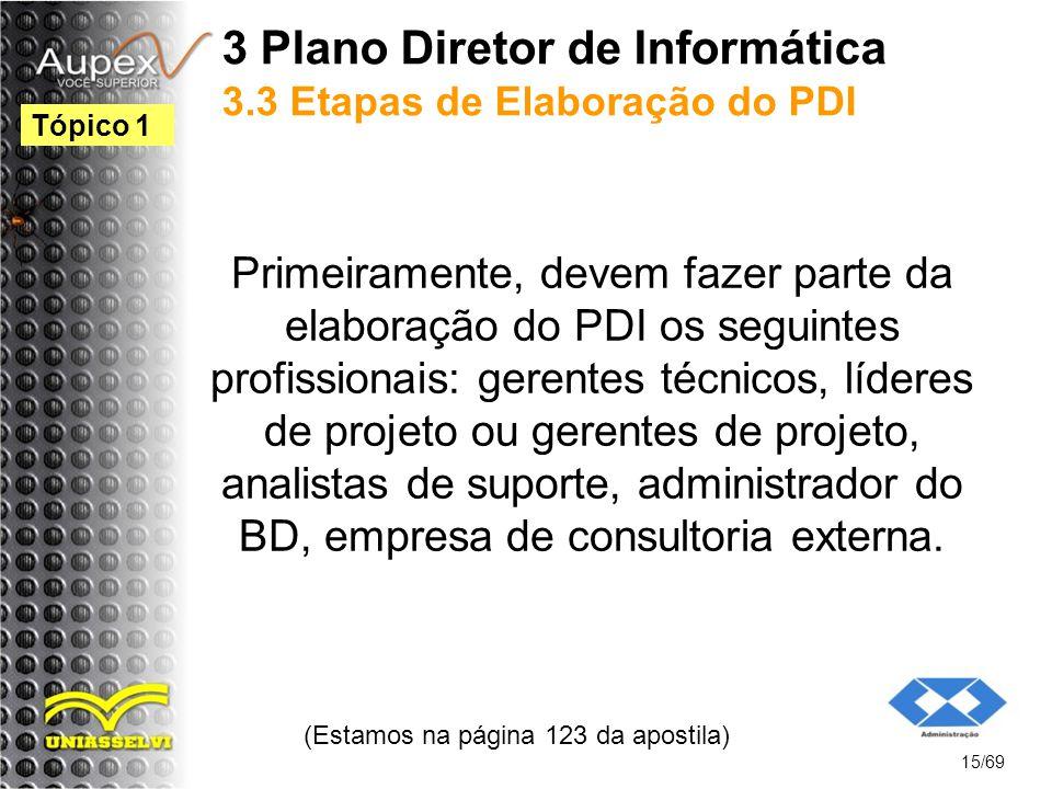 3 Plano Diretor de Informática 3.3 Etapas de Elaboração do PDI Primeiramente, devem fazer parte da elaboração do PDI os seguintes profissionais: gerentes técnicos, líderes de projeto ou gerentes de projeto, analistas de suporte, administrador do BD, empresa de consultoria externa.