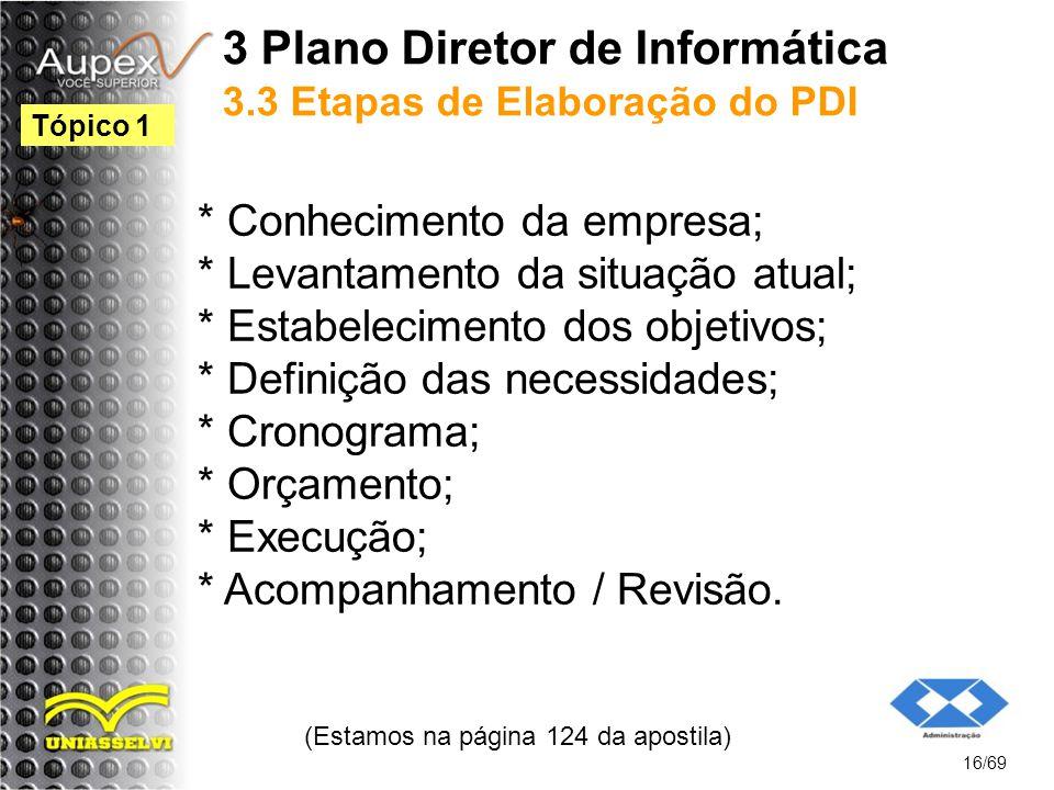 3 Plano Diretor de Informática 3.3 Etapas de Elaboração do PDI * Conhecimento da empresa; * Levantamento da situação atual; * Estabelecimento dos objetivos; * Definição das necessidades; * Cronograma; * Orçamento; * Execução; * Acompanhamento / Revisão.