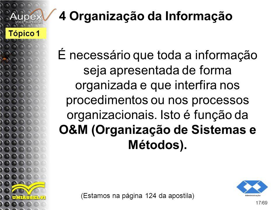 4 Organização da Informação É necessário que toda a informação seja apresentada de forma organizada e que interfira nos procedimentos ou nos processos organizacionais.