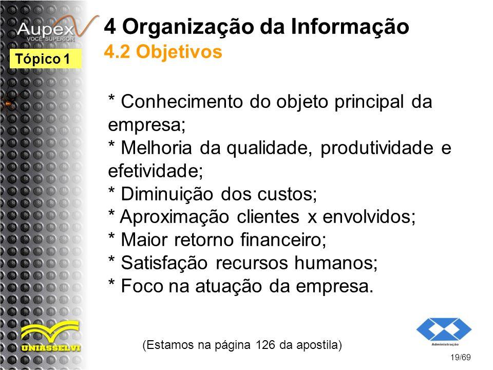 4 Organização da Informação 4.2 Objetivos * Conhecimento do objeto principal da empresa; * Melhoria da qualidade, produtividade e efetividade; * Diminuição dos custos; * Aproximação clientes x envolvidos; * Maior retorno financeiro; * Satisfação recursos humanos; * Foco na atuação da empresa.