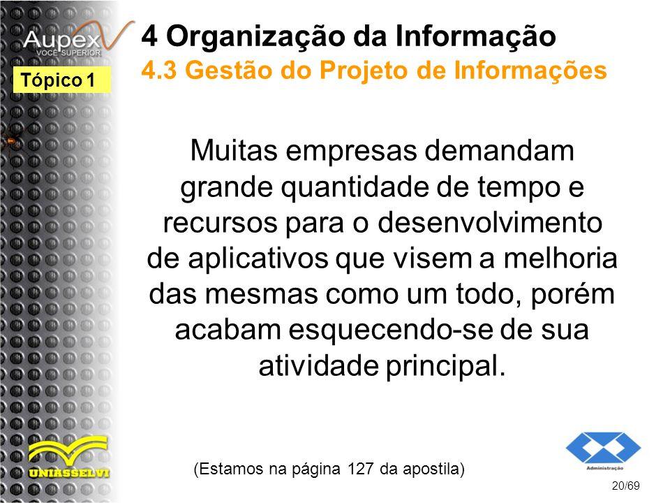 4 Organização da Informação 4.3 Gestão do Projeto de Informações Muitas empresas demandam grande quantidade de tempo e recursos para o desenvolvimento de aplicativos que visem a melhoria das mesmas como um todo, porém acabam esquecendo-se de sua atividade principal.