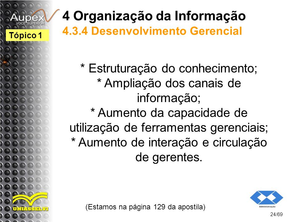 4 Organização da Informação 4.3.4 Desenvolvimento Gerencial * Estruturação do conhecimento; * Ampliação dos canais de informação; * Aumento da capacidade de utilização de ferramentas gerenciais; * Aumento de interação e circulação de gerentes.
