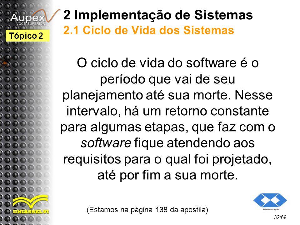 2 Implementação de Sistemas 2.1 Ciclo de Vida dos Sistemas O ciclo de vida do software é o período que vai de seu planejamento até sua morte.