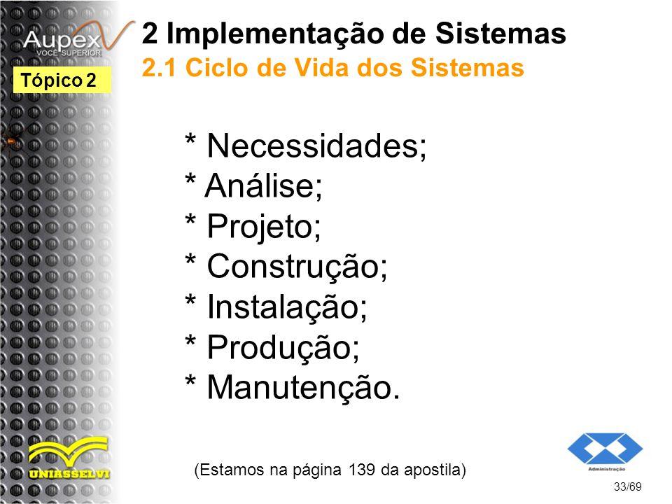 2 Implementação de Sistemas 2.1 Ciclo de Vida dos Sistemas * Necessidades; * Análise; * Projeto; * Construção; * Instalação; * Produção; * Manutenção.