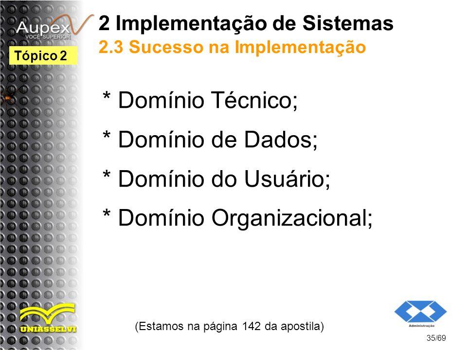 2 Implementação de Sistemas 2.3 Sucesso na Implementação * Domínio Técnico; * Domínio de Dados; * Domínio do Usuário; * Domínio Organizacional; (Estamos na página 142 da apostila) 35/69 Tópico 2