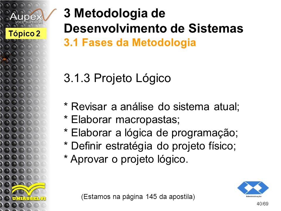 3 Metodologia de Desenvolvimento de Sistemas 3.1 Fases da Metodologia 3.1.3 Projeto Lógico * Revisar a análise do sistema atual; * Elaborar macropastas; * Elaborar a lógica de programação; * Definir estratégia do projeto físico; * Aprovar o projeto lógico.