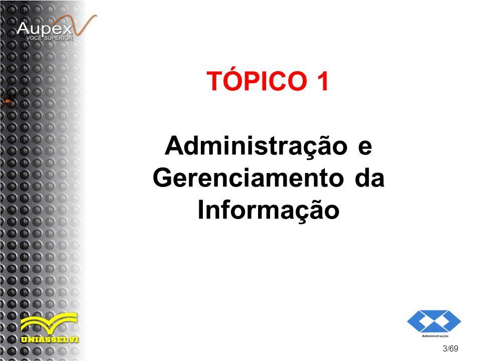 TÓPICO 1 Administração e Gerenciamento da Informação 3/69