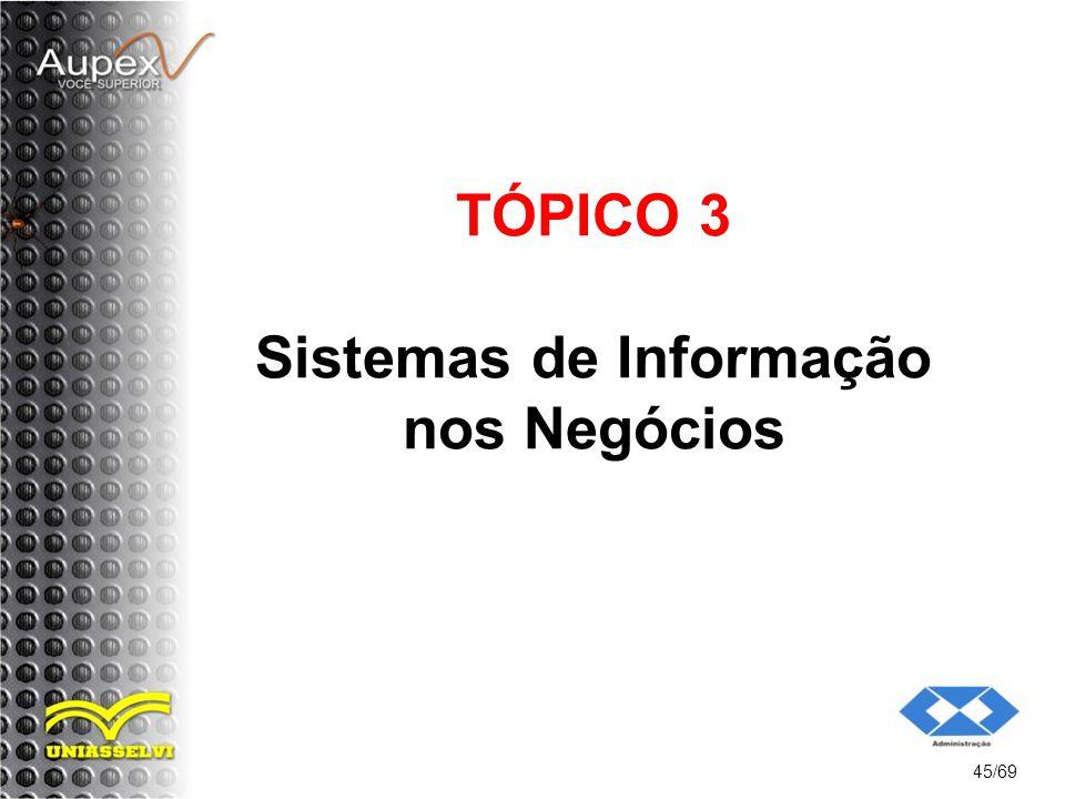 TÓPICO 3 Sistemas de Informação nos Negócios 45/69