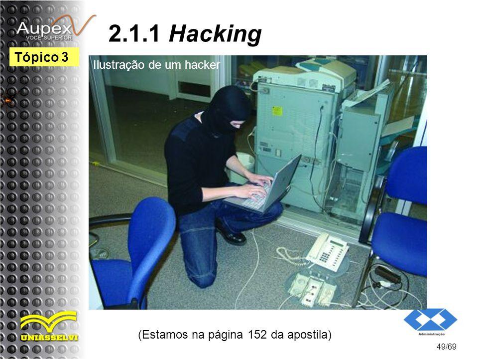 2.1.1 Hacking (Estamos na página 152 da apostila) 49/69 Tópico 3 Ilustração de um hacker