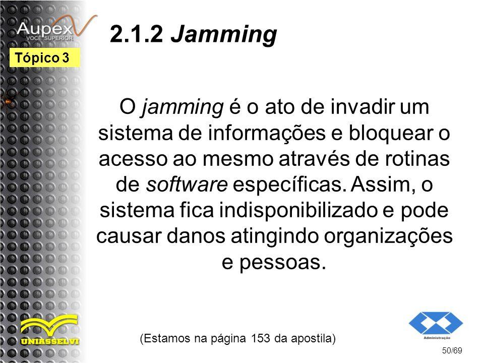 2.1.2 Jamming O jamming é o ato de invadir um sistema de informações e bloquear o acesso ao mesmo através de rotinas de software específicas.