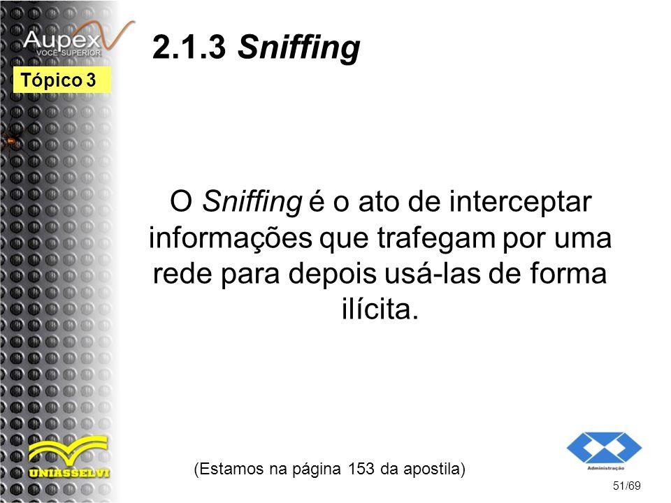 2.1.3 Sniffing O Sniffing é o ato de interceptar informações que trafegam por uma rede para depois usá-las de forma ilícita.