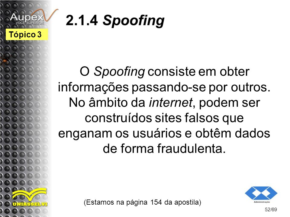 2.1.4 Spoofing O Spoofing consiste em obter informações passando-se por outros.