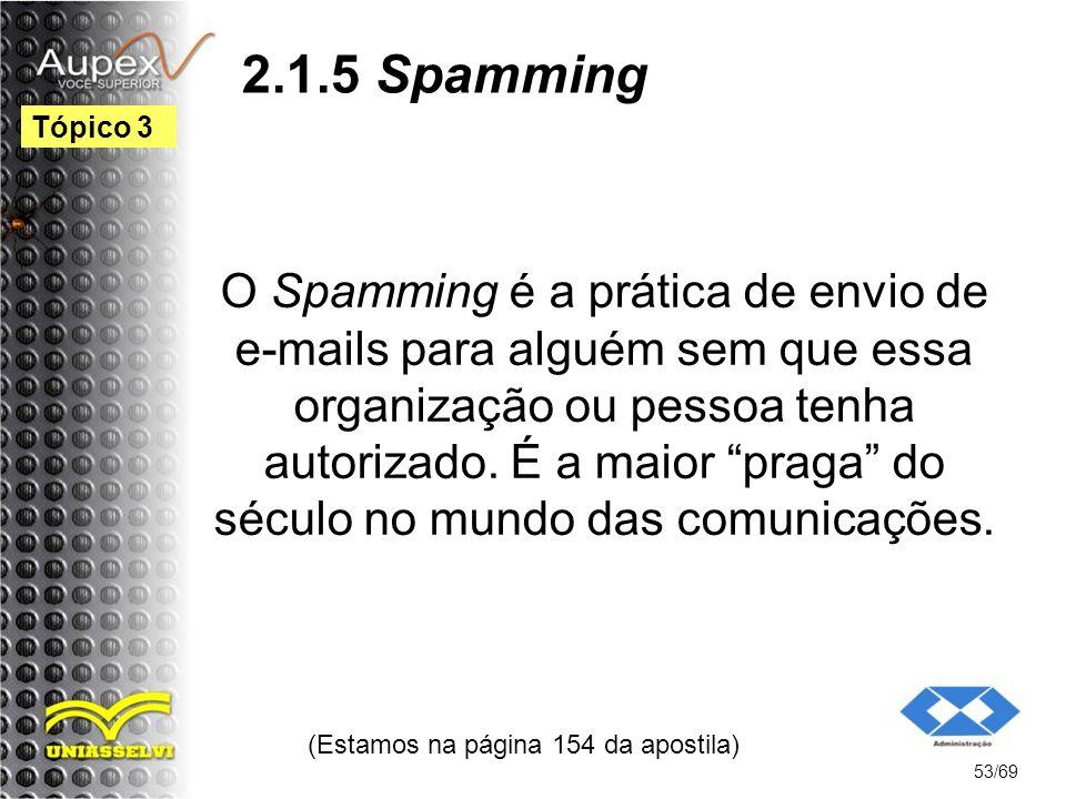 2.1.5 Spamming O Spamming é a prática de envio de e-mails para alguém sem que essa organização ou pessoa tenha autorizado.