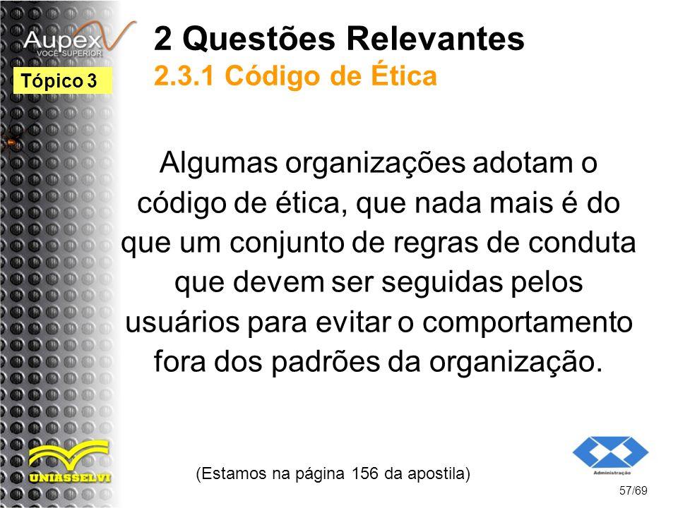 2 Questões Relevantes 2.3.1 Código de Ética Algumas organizações adotam o código de ética, que nada mais é do que um conjunto de regras de conduta que devem ser seguidas pelos usuários para evitar o comportamento fora dos padrões da organização.