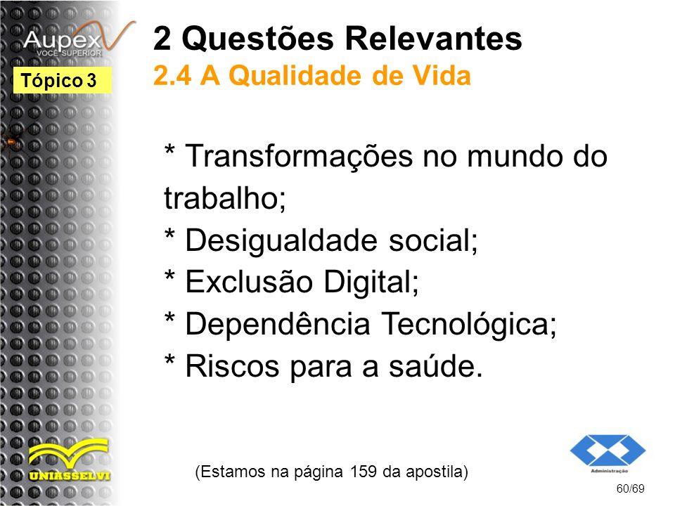 2 Questões Relevantes 2.4 A Qualidade de Vida * Transformações no mundo do trabalho; * Desigualdade social; * Exclusão Digital; * Dependência Tecnológica; * Riscos para a saúde.