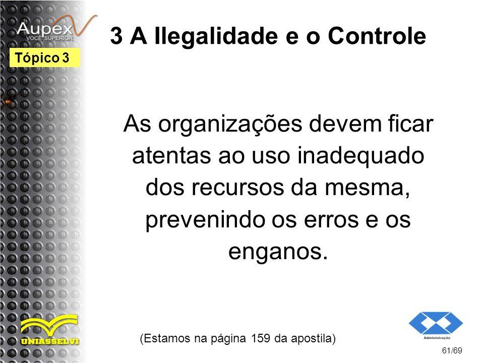 3 A Ilegalidade e o Controle As organizações devem ficar atentas ao uso inadequado dos recursos da mesma, prevenindo os erros e os enganos.