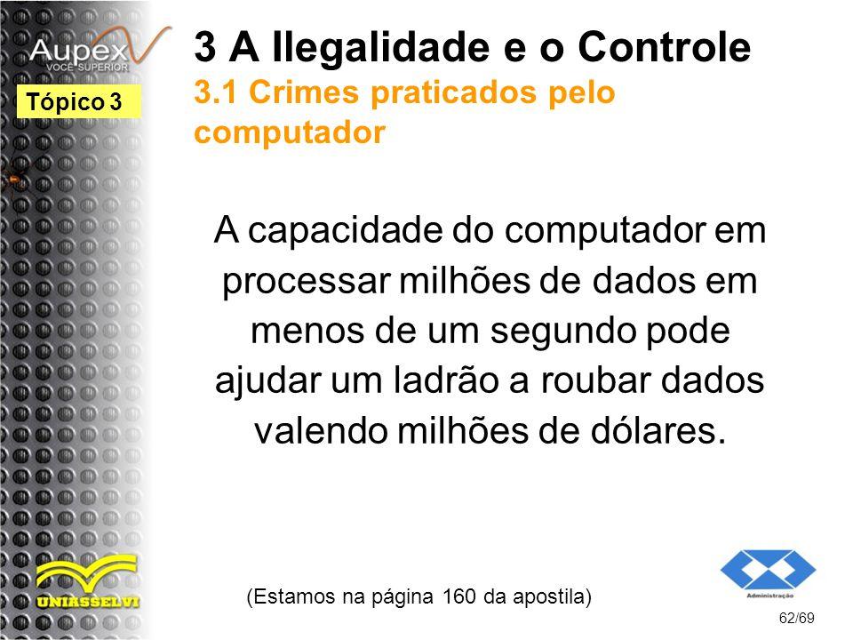 3 A Ilegalidade e o Controle 3.1 Crimes praticados pelo computador A capacidade do computador em processar milhões de dados em menos de um segundo pode ajudar um ladrão a roubar dados valendo milhões de dólares.