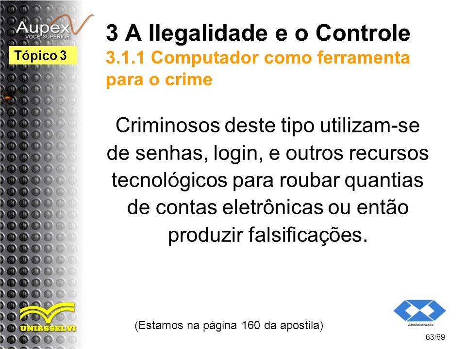 3 A Ilegalidade e o Controle 3.1.1 Computador como ferramenta para o crime Criminosos deste tipo utilizam-se de senhas, login, e outros recursos tecnológicos para roubar quantias de contas eletrônicas ou então produzir falsificações.