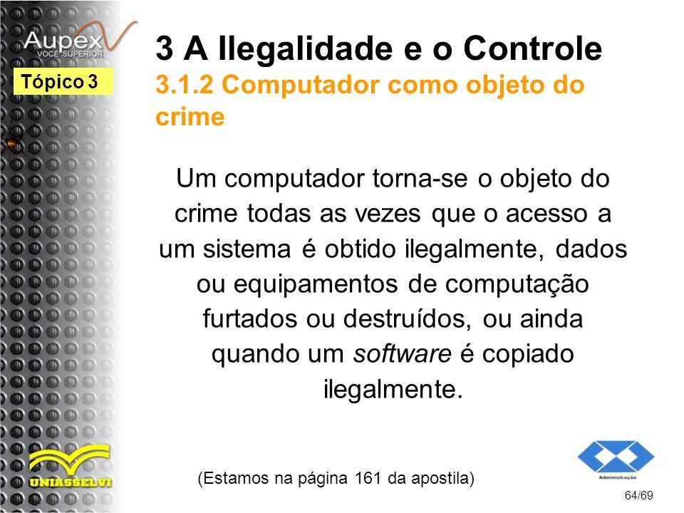 3 A Ilegalidade e o Controle 3.1.2 Computador como objeto do crime Um computador torna-se o objeto do crime todas as vezes que o acesso a um sistema é obtido ilegalmente, dados ou equipamentos de computação furtados ou destruídos, ou ainda quando um software é copiado ilegalmente.