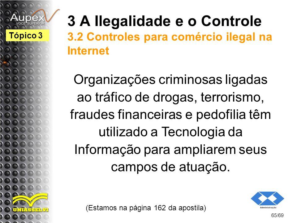 3 A Ilegalidade e o Controle 3.2 Controles para comércio ilegal na Internet Organizações criminosas ligadas ao tráfico de drogas, terrorismo, fraudes financeiras e pedofilia têm utilizado a Tecnologia da Informação para ampliarem seus campos de atuação.