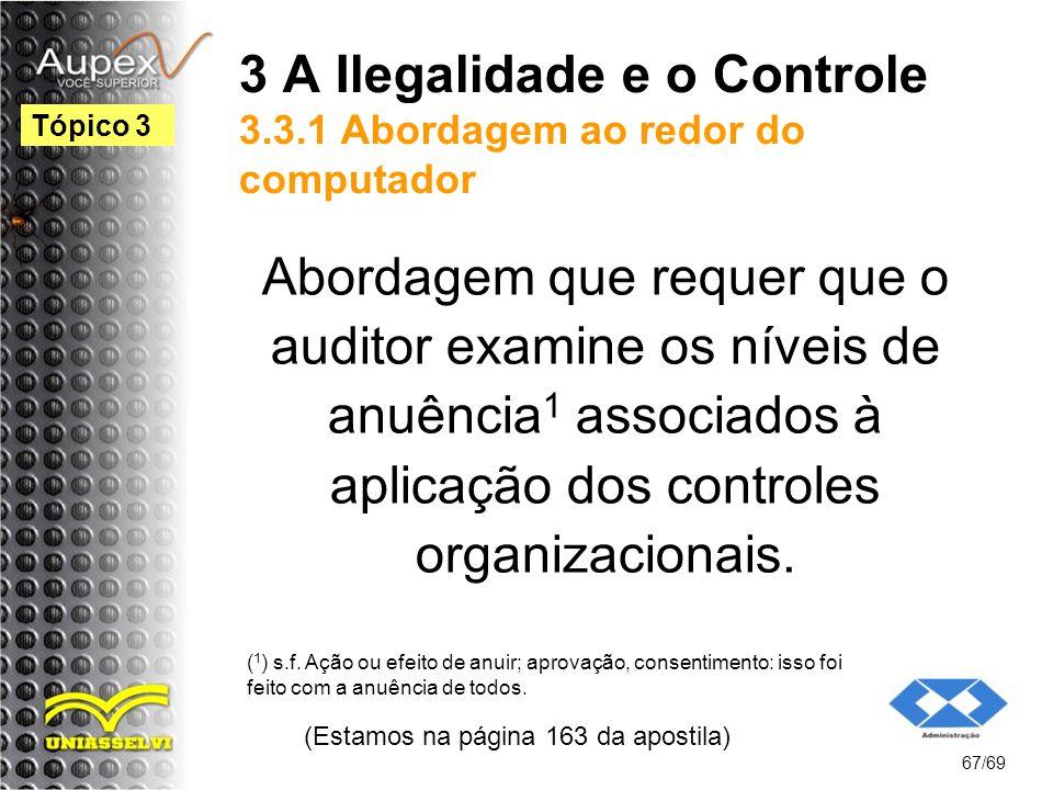 3 A Ilegalidade e o Controle 3.3.1 Abordagem ao redor do computador Abordagem que requer que o auditor examine os níveis de anuência 1 associados à aplicação dos controles organizacionais.