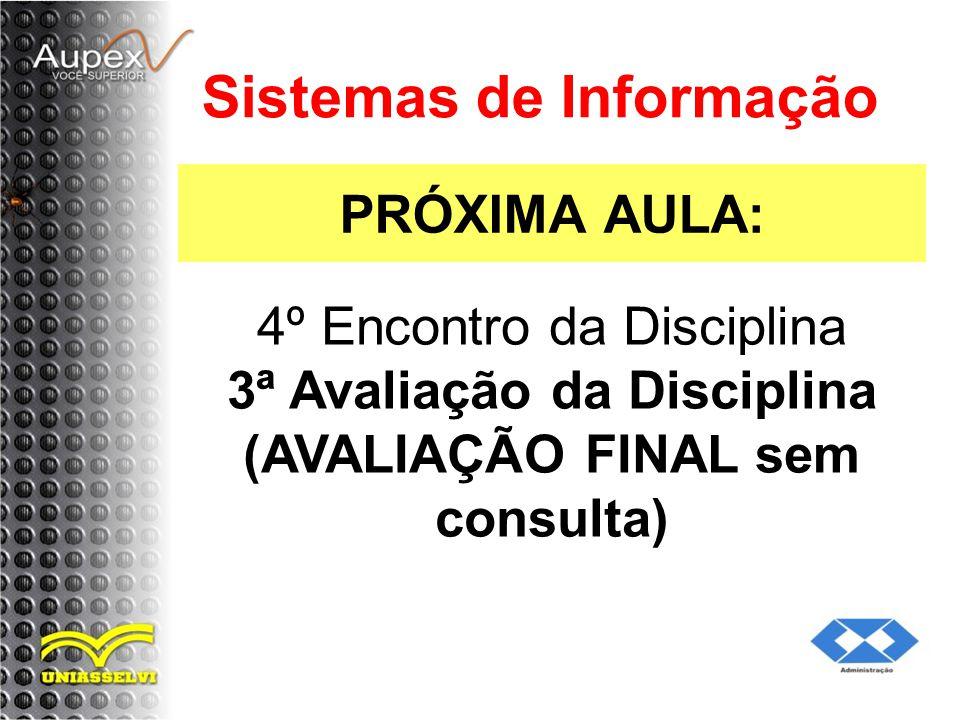 PRÓXIMA AULA: Sistemas de Informação 4º Encontro da Disciplina 3ª Avaliação da Disciplina (AVALIAÇÃO FINAL sem consulta)