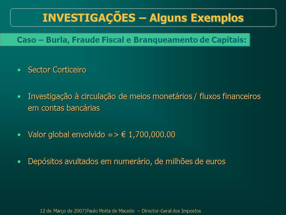 12 de Março de 2007|Paulo Moita de Macedo – Director-Geral dos Impostos Sector CorticeiroSector Corticeiro Investigação à circulação de meios monetários / fluxos financeiros em contas bancáriasInvestigação à circulação de meios monetários / fluxos financeiros em contas bancárias Valor global envolvido => € 1,700,000.00Valor global envolvido => € 1,700,000.00 Depósitos avultados em numerário, de milhões de eurosDepósitos avultados em numerário, de milhões de euros Caso – Burla, Fraude Fiscal e Branqueamento de Capitais: INVESTIGAÇÕES – Alguns Exemplos