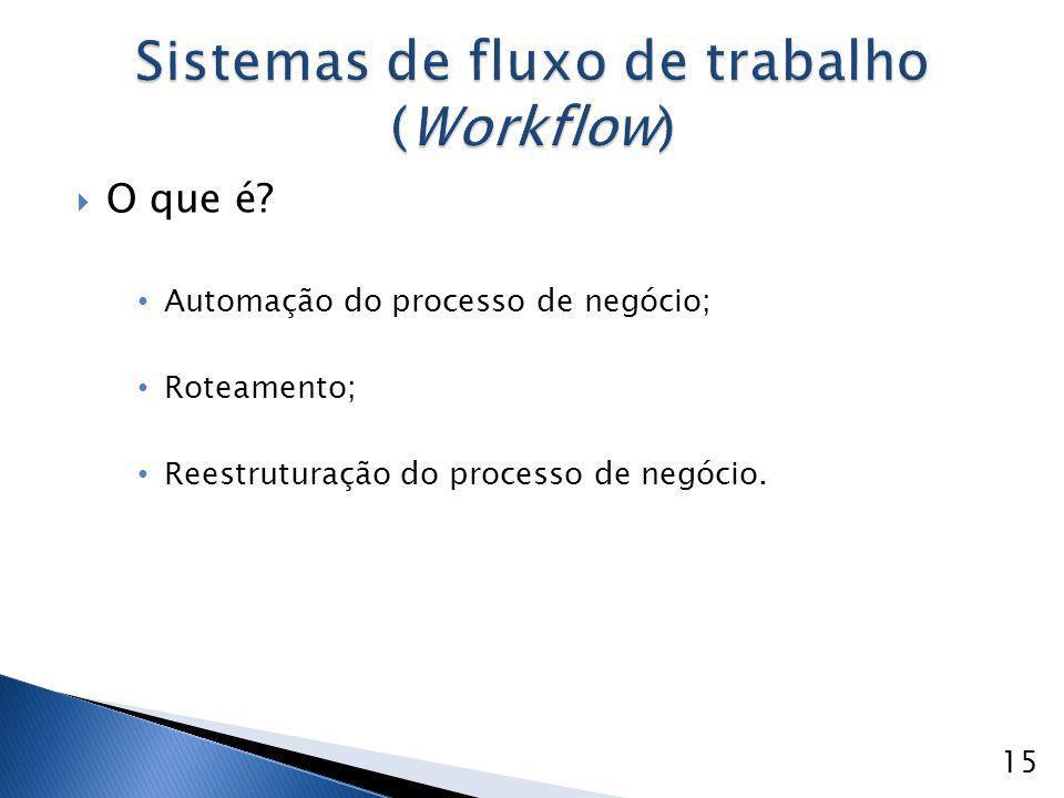 O que é? Automação do processo de negócio; Roteamento; Reestruturação do processo de negócio. 15