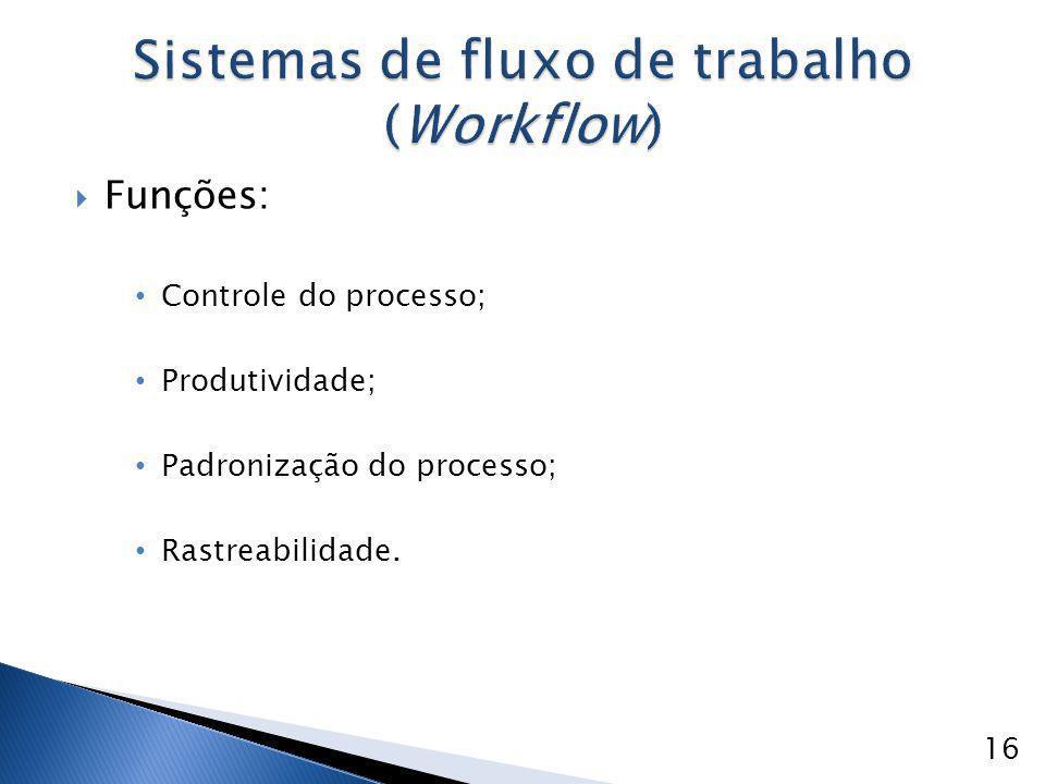  Funções: Controle do processo; Produtividade; Padronização do processo; Rastreabilidade. 16