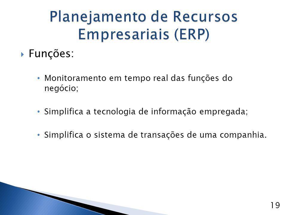  Funções: Monitoramento em tempo real das funções do negócio; Simplifica a tecnologia de informação empregada; Simplifica o sistema de transações de