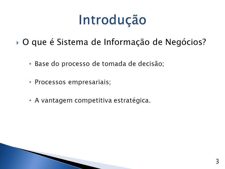  O que é Sistema de Informação de Negócios? Base do processo de tomada de decisão; Processos empresariais; A vantagem competitiva estratégica. 3