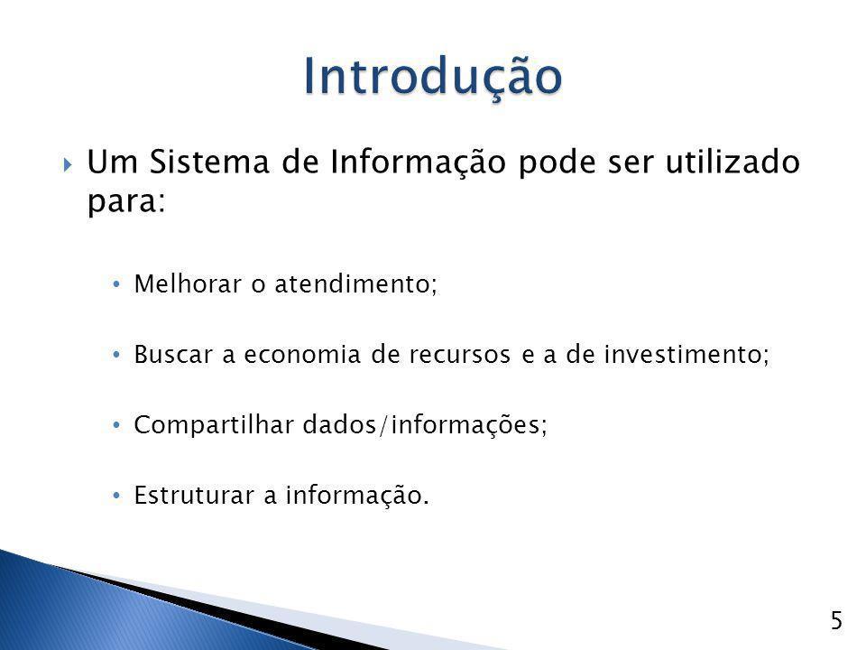  Um Sistema de Informação pode ser utilizado para: Melhorar o atendimento; Buscar a economia de recursos e a de investimento; Compartilhar dados/info