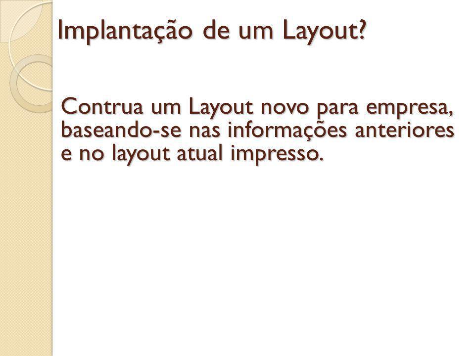Implantação de um Layout? Contrua um Layout novo para empresa, baseando-se nas informações anteriores e no layout atual impresso.