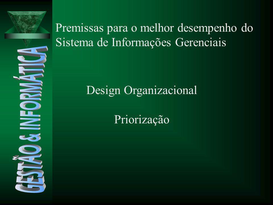 Premissas para o melhor desempenho do Sistema de Informações Gerenciais Design Organizacional Priorização