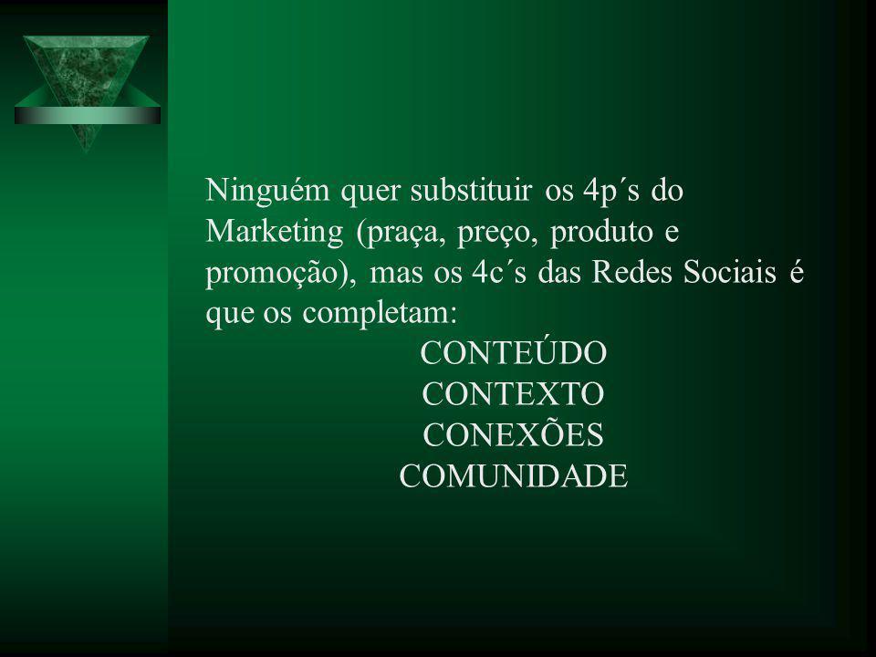 Ninguém quer substituir os 4p´s do Marketing (praça, preço, produto e promoção), mas os 4c´s das Redes Sociais é que os completam: CONTEÚDO CONTEXTO C